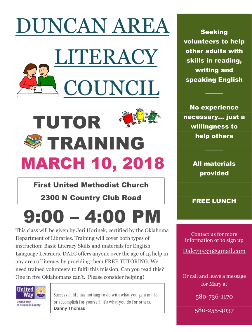 Tutor Training Flyer 2018